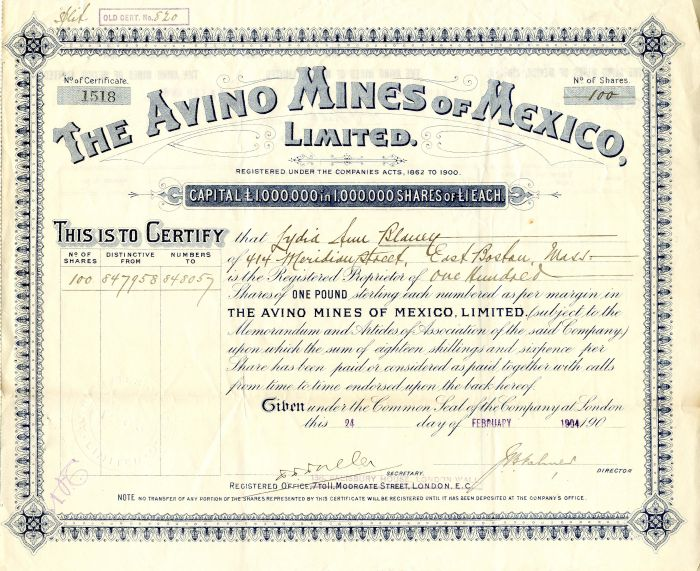 Avino Mines of Mexico, Limited - Stock Certificate