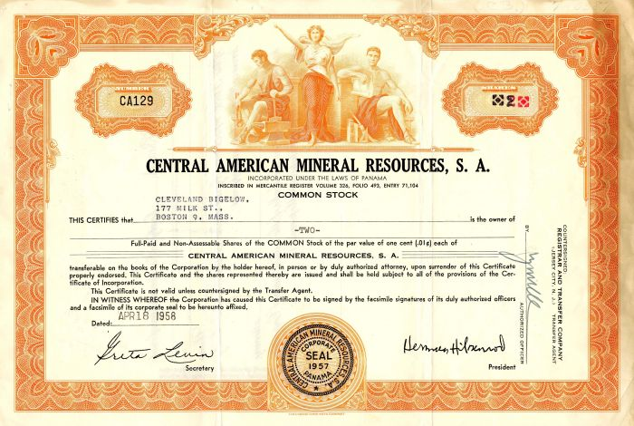 Central American Mineral Resources, S.A. - Stock Certificate