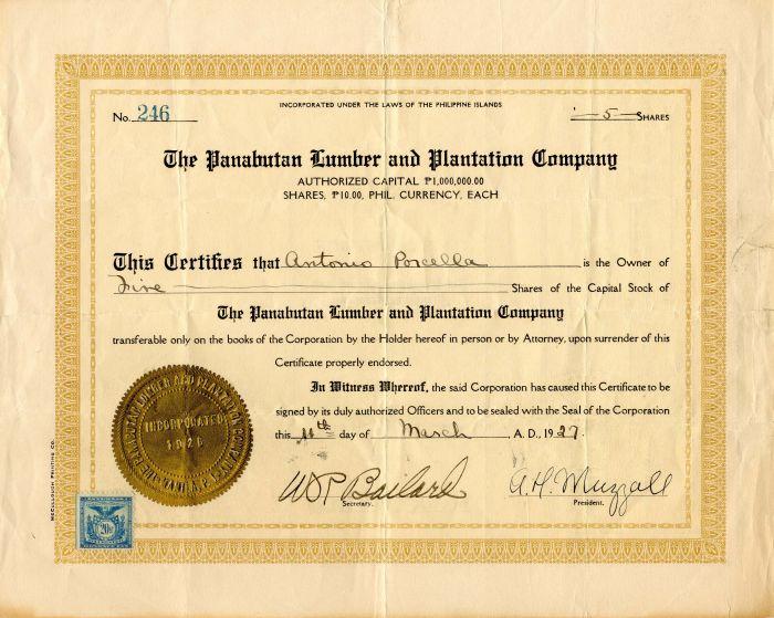 Panabutan Lumber and Plantation Company - Stock Certificate
