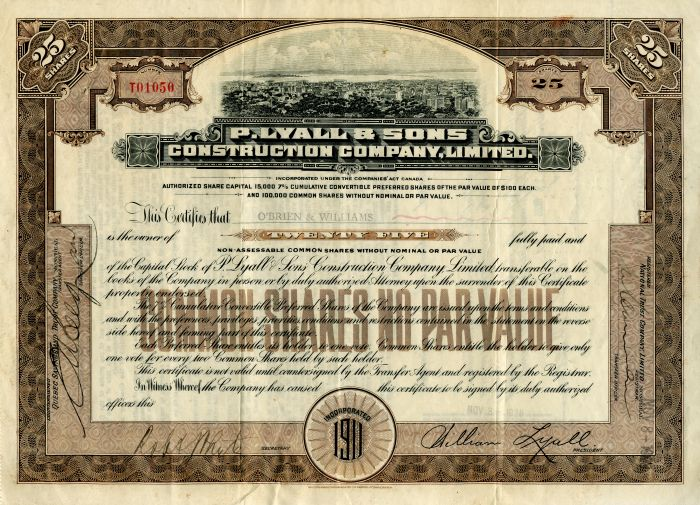 P. Lyall & Sons Construction Company, Limited - Stock Certificate