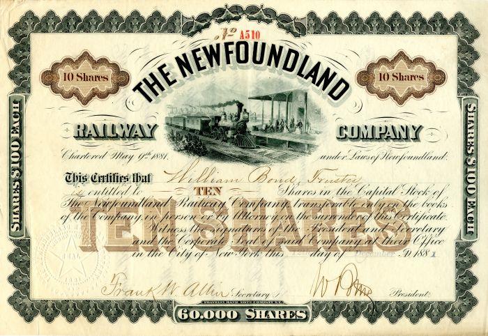 Newfoundland Railway Company - Stock Certificate