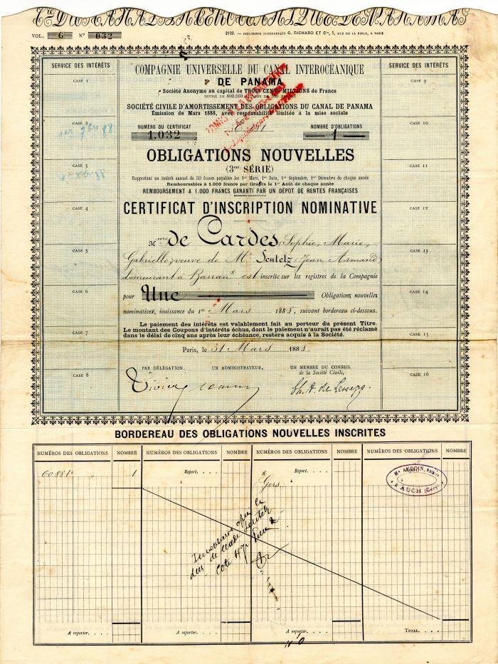 Compagnie Universelle Du Canal Interoceanique - Stock Certificate