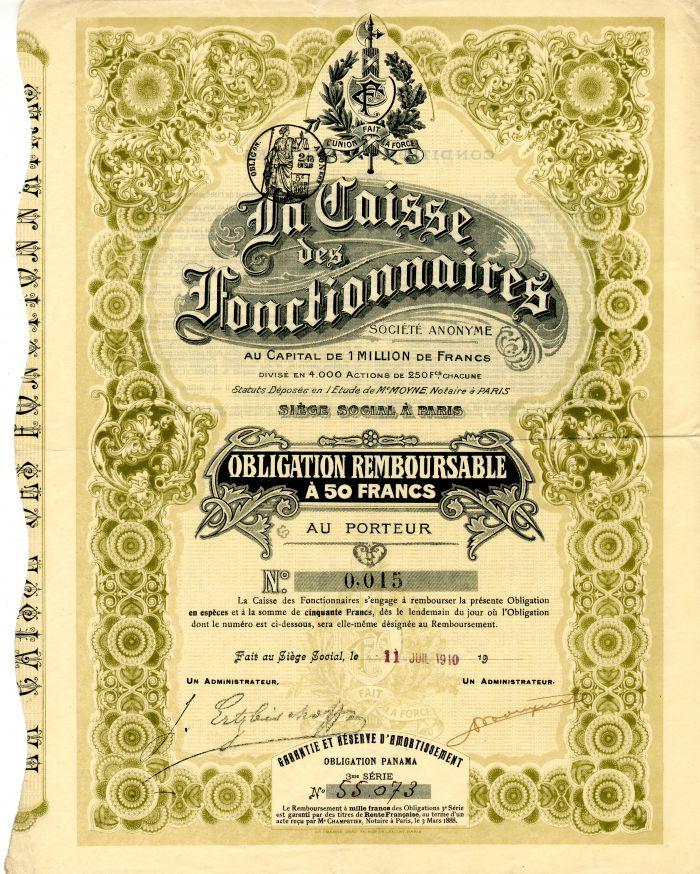 La Caisse des Fonctionnaires - Stock Certificate