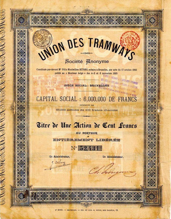 Union Des Tramways - Stock Certificate
