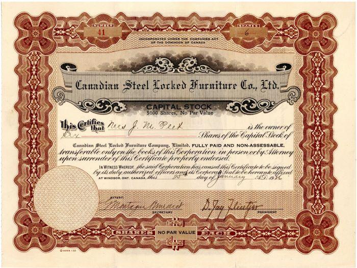 Canadian Steel Locked Furniture  Co., Ltd. - Stock Certificate