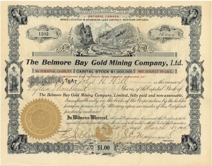 Belmore Bay Gold Mining Company, Ltd. - Stock Certificate
