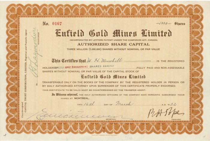 Enfield Gold Mines Limited - Stock Certificate