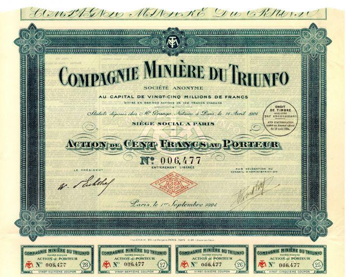 Compagnie Miniere Du Triunfo - Stock Certificate