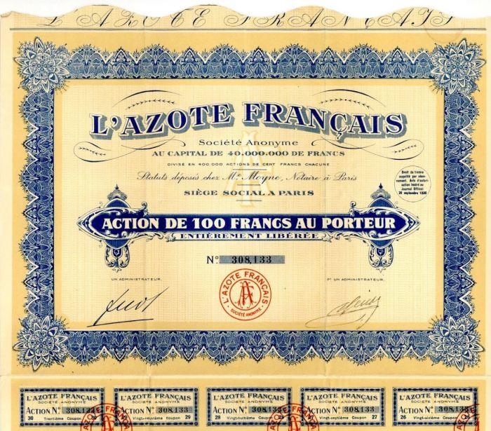 L'Azote Francais - Stock Certificate