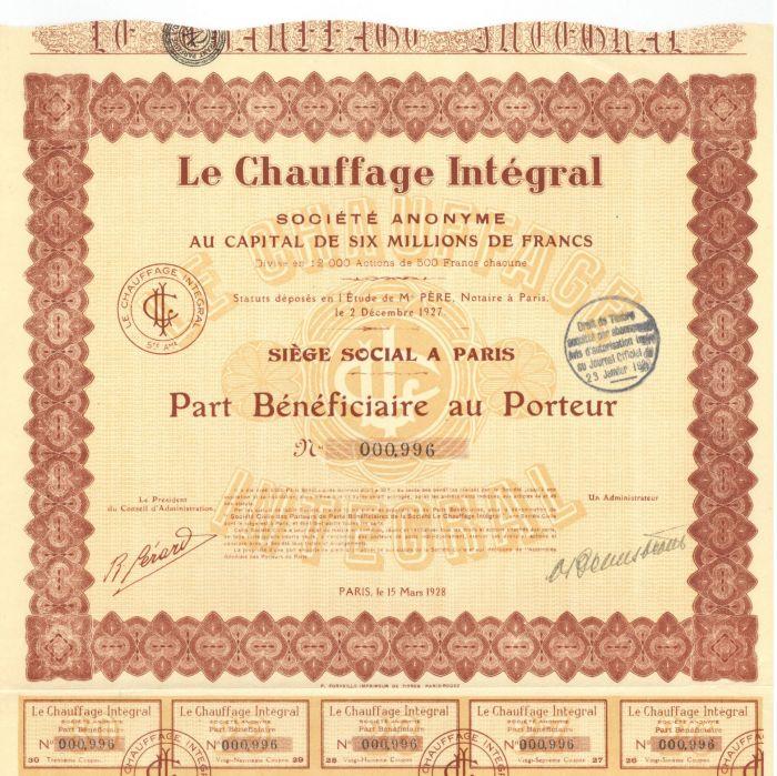 Le Chauffage Integral - Stock Certificate