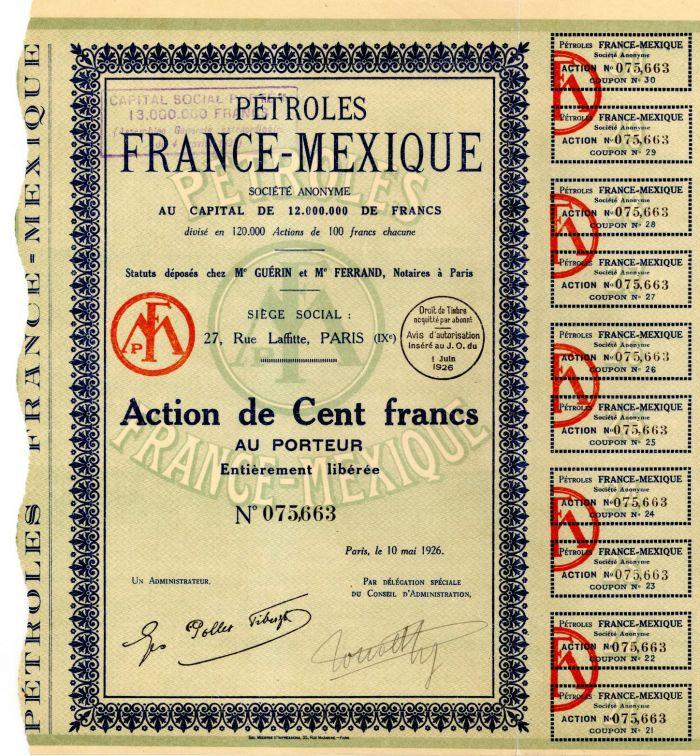 Petroles France-Mexique - Stock Certificate
