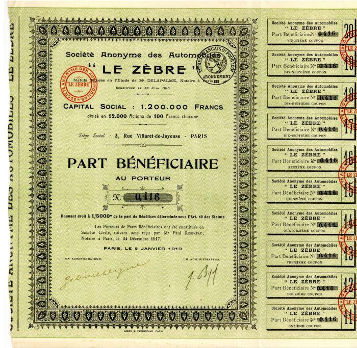 "Societe Anonyme des Automobiles ""Le Zebre"" - Stock Certificate"