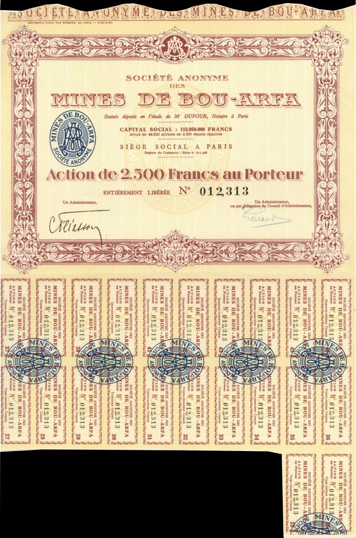 Societe Anonyme des Mines De Bou-Arfa - Stock Certificate