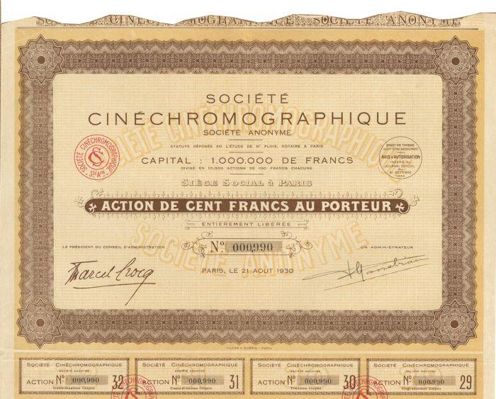 Societe Cinechromographique - Stock Certificate