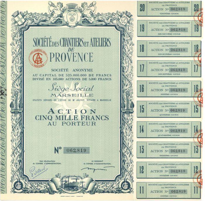 Societe Des Chantiers Et Ateliers De Provence - Stock Certificate