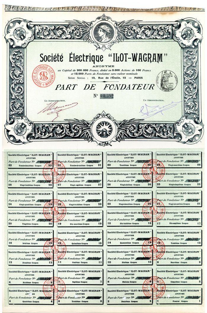 "Societe Electrique ""Ilot-Wagram"" - Stock Certificate"