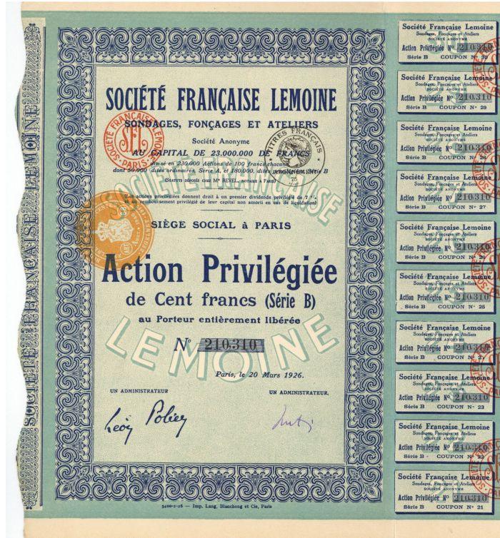 Societe Francaise Lemoine - Stock Certificate