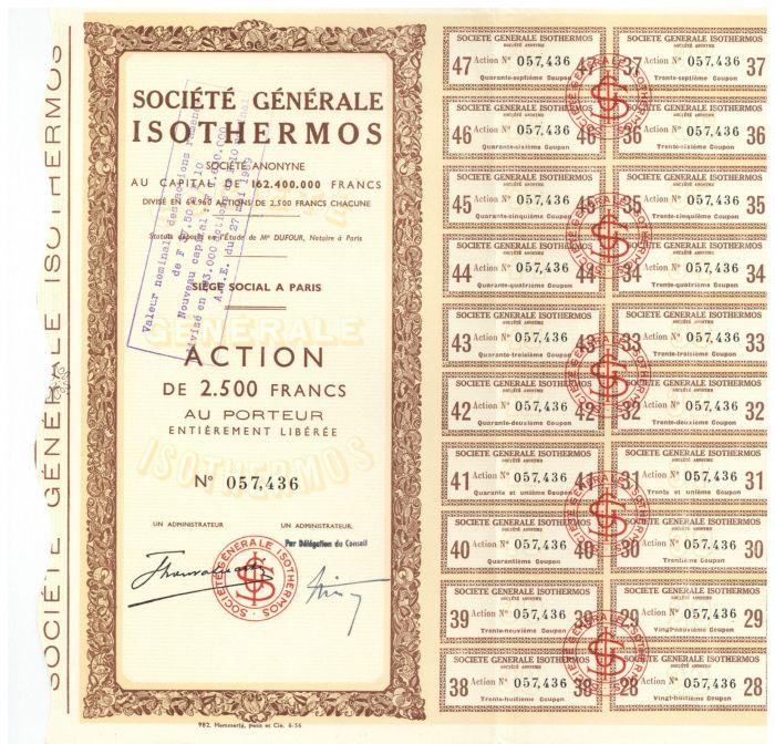 Societe Generale Isothermos - Stock Certificate
