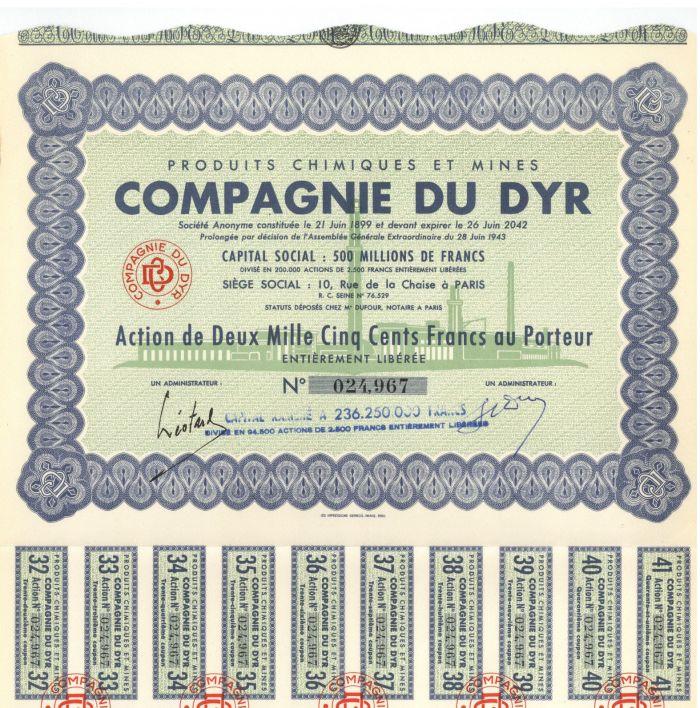 Produits Chimiques Et Mines Compagnie Du Dyr - Stock Certificate