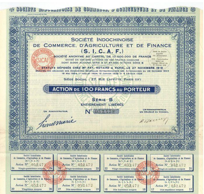 Societe Indochinoise De Commerce, D'Agriculture Et De Finance- Stock Certificate