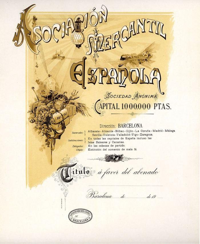 Sociacion Mercantil Espanola- Stock Certificate