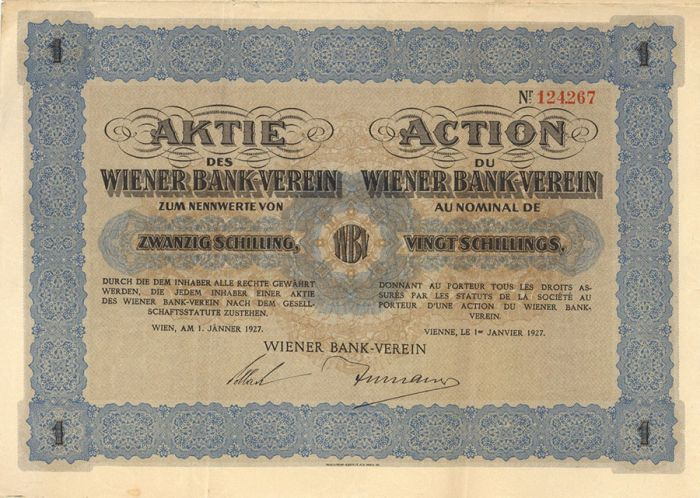 Aktie Des Wiener Bank-Verein - Stock Certificate