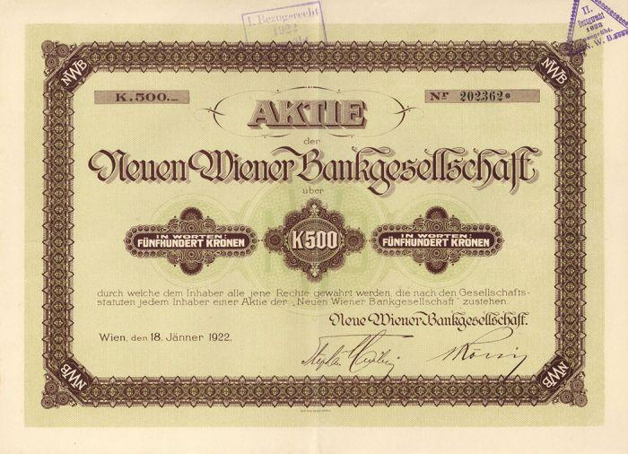 Aktie Der Wiener Bankgesellschaft - Stock Certificate