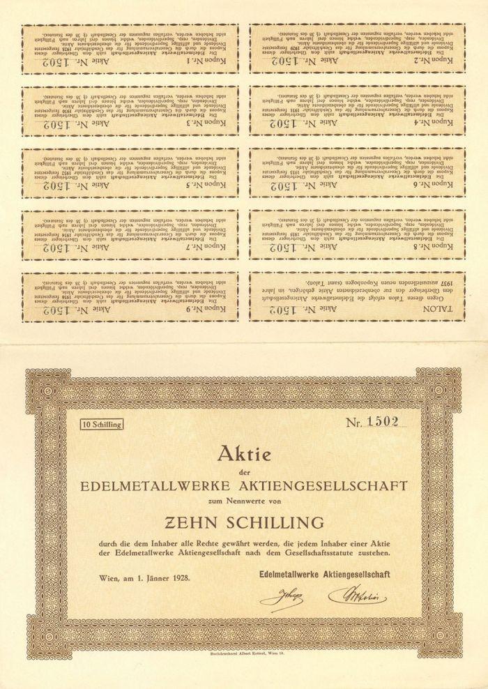 Aktie Der Edelmetallwerke Aktiengesellschaft - Stock Certificate