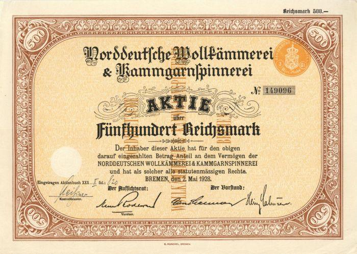 Germany - 500 Reichsmark Stock