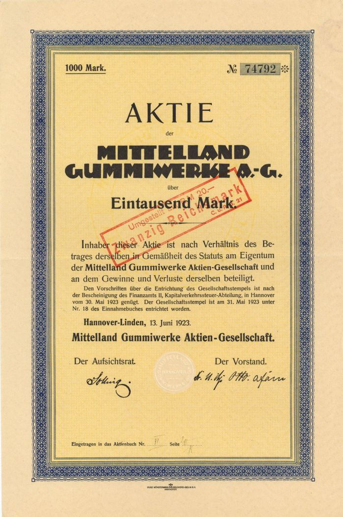 Mittelland Gummiwerke A.-G. - Stock Certificate