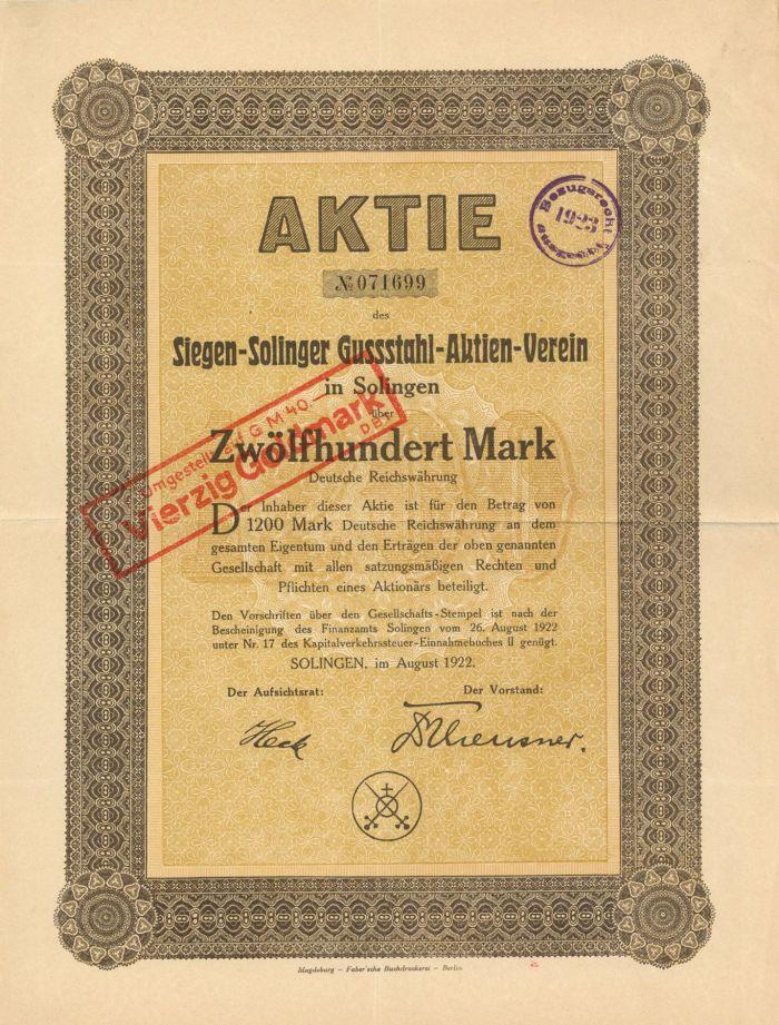Siegen-Solinger Gussstahl-Aktien-Verein - Stock Certificate