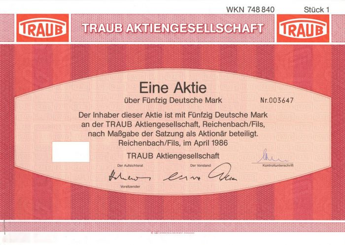 Traub Aktiengesellschaft- Stock Certificate