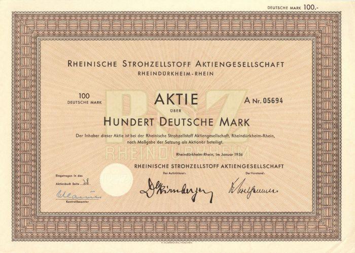 Rheinische Strohzellstoff Aktiengesellschaft- Stock Certificate