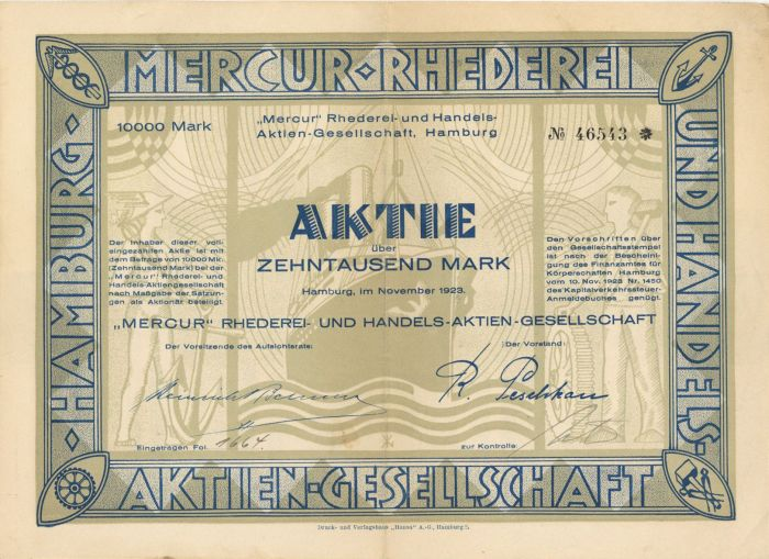 Mercur-Rhederei- Stock Certificate