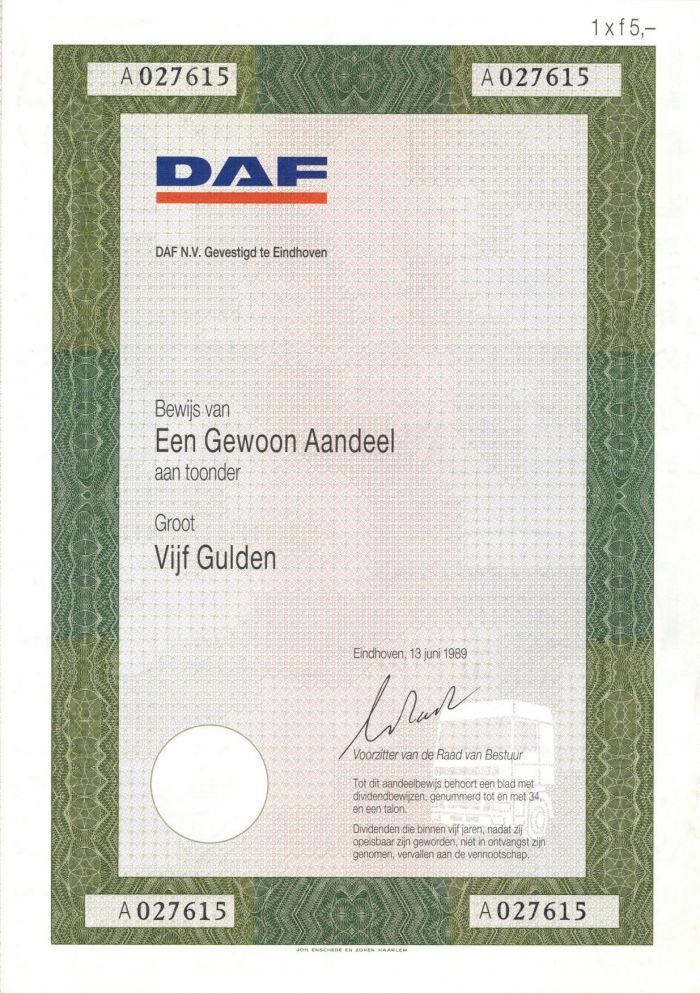 DAF N.V. Gevestigd te Eindhoven- Stock Certificate