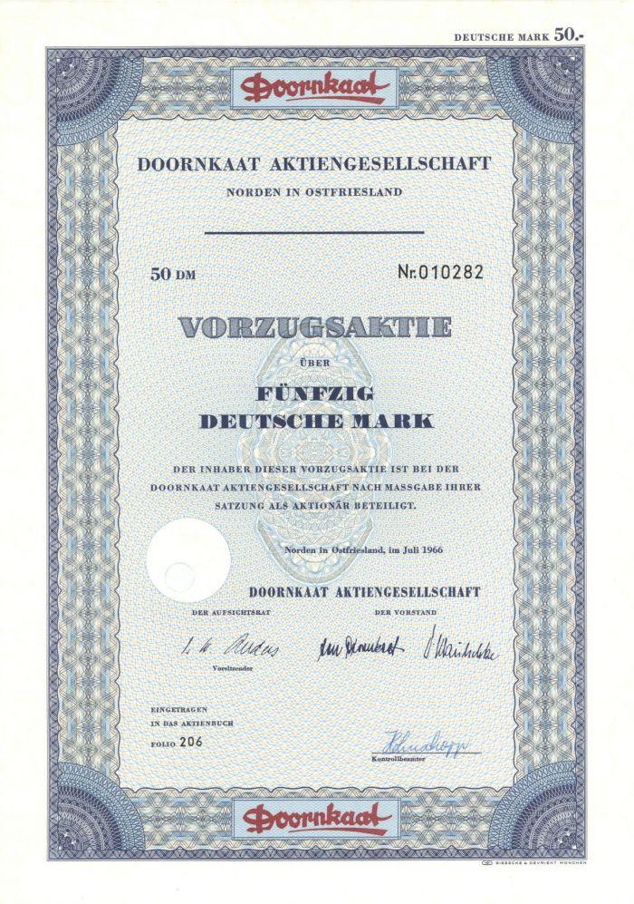 Doornkaat Aktiengesellschaft- Stock Certificate