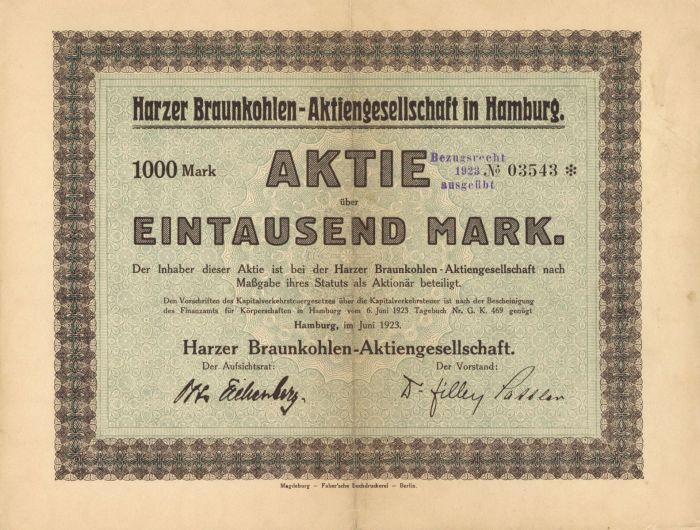 Harzer Braunkohlen- Aktiengesellschaft in Hamburg- Stock Certificate