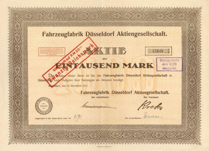Fahrzeugfabrik Dusseldorf Aktiengesellschaft - Stock Certificate