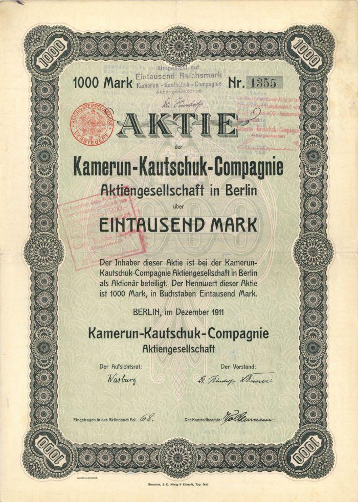 Kamerun-Kautschuk-Compagnie Aktiengesellschaft in Berlin - Stock Certificate