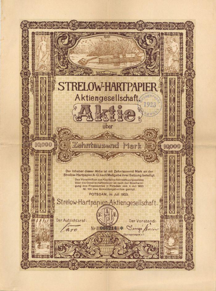 Strelow-Hartpapier - Stock Certificate