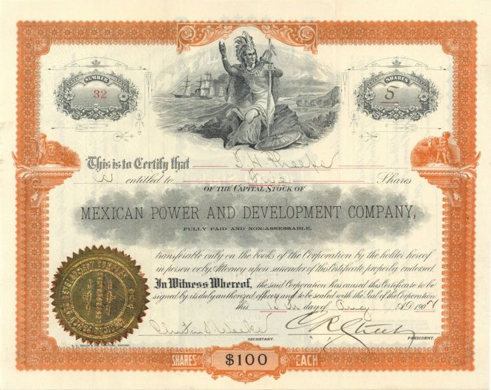 Mexican Power and Development Company - Stock Certificate