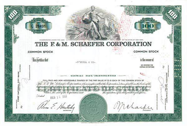 F & M Schaefer Corporation - Stock Certificate