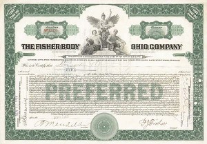 Frederic John Fisher - The Fisher Body Ohio Co. - Stock Certificate