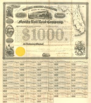 Florida Rail Road Company $1000 Bond - SOLD