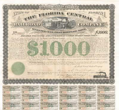 Florida Central Railroad - Bond (Uncanceled)