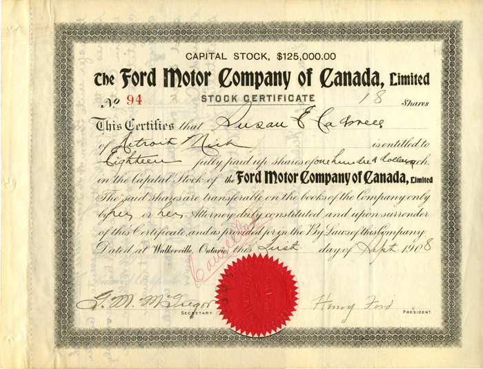 Ford Motor Company of Canada, Limited signed by Henry Ford - SOLD