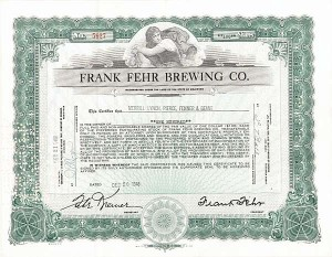 Frank Fehr Brewing Co. - Stock Certificate