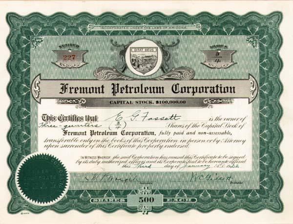 Fremont Petroleum Corporation - Stock Certificate