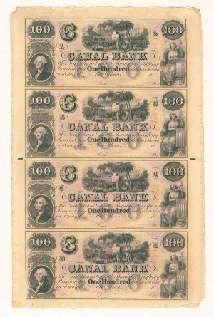 New Orleans - Canal Bank Uncut Obsolete Sheet - Broken Bank Notes - SOLD