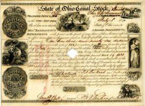 State of Ohio Canal Stock - Bond
